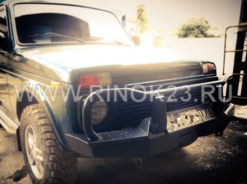 Силовой бампер РИФ передний на ВАЗ Нива 2121 с кенгурином